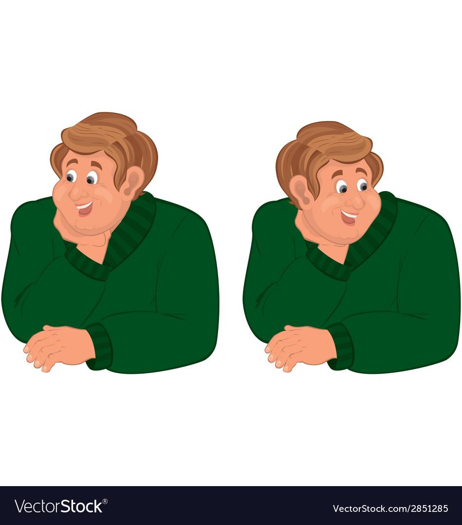 Happy cartoon man torso in green sweater vector | Price: 1 Credit (USD $1)