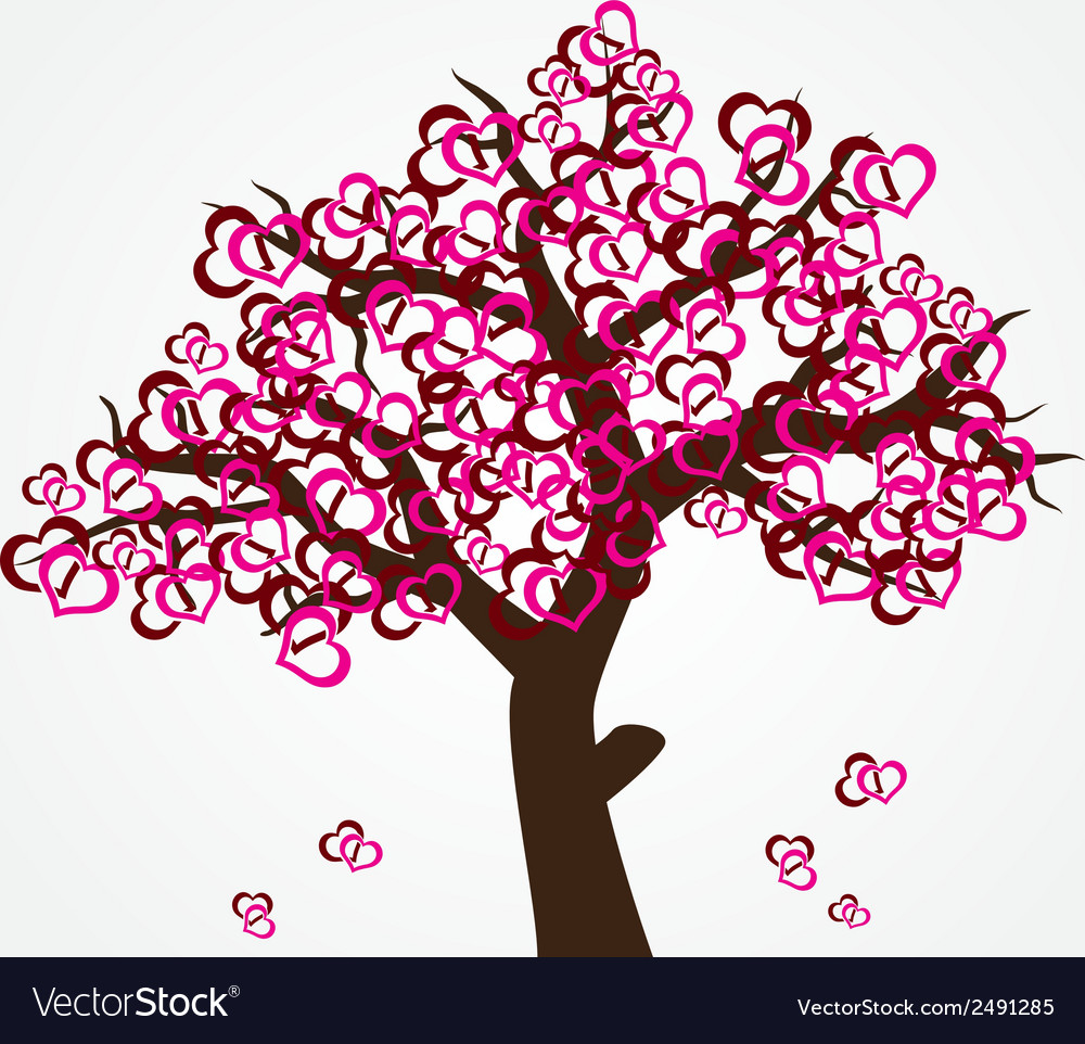 Tree with hearths for valentine or wedding eps10 vector | Price: 1 Credit (USD $1)