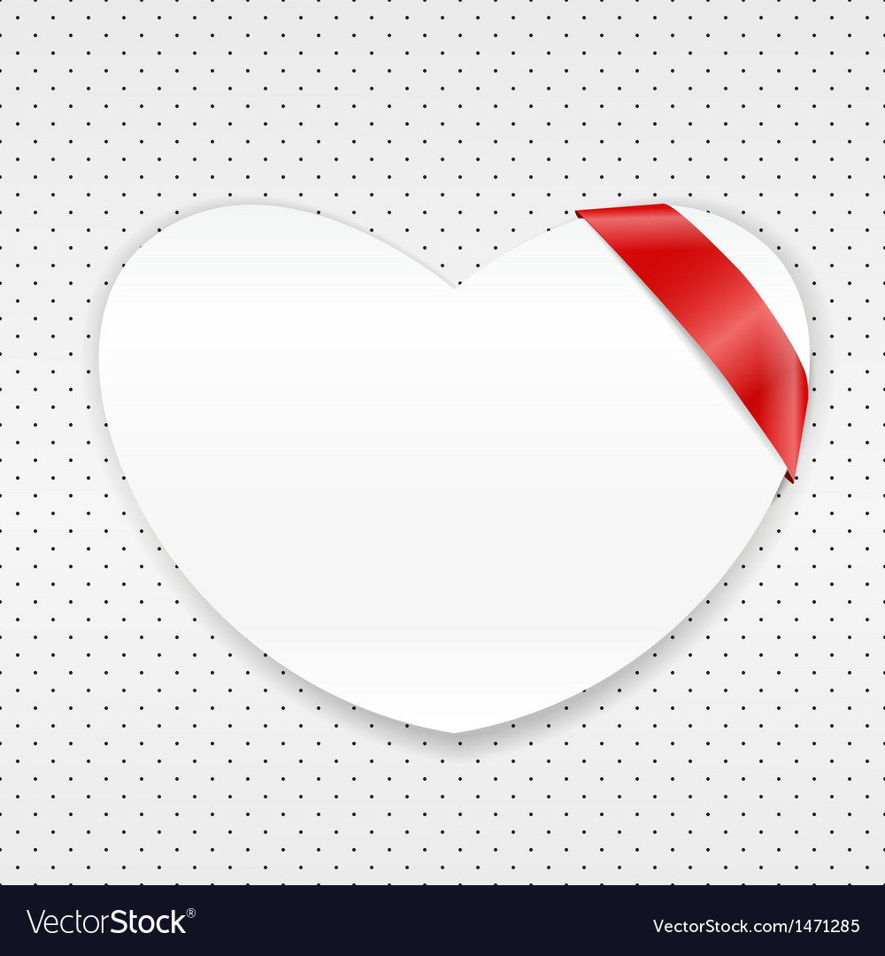 White paper heart with red ribbon vector | Price: 1 Credit (USD $1)