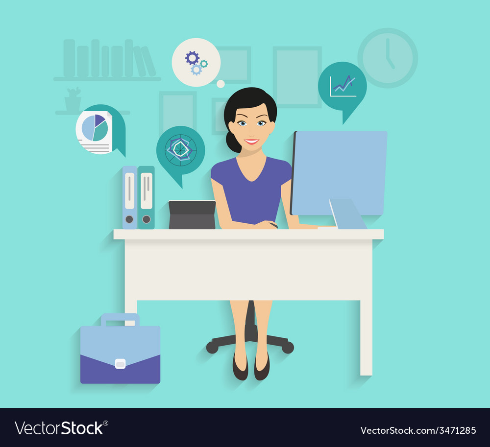 Woman with computer vector | Price: 1 Credit (USD $1)