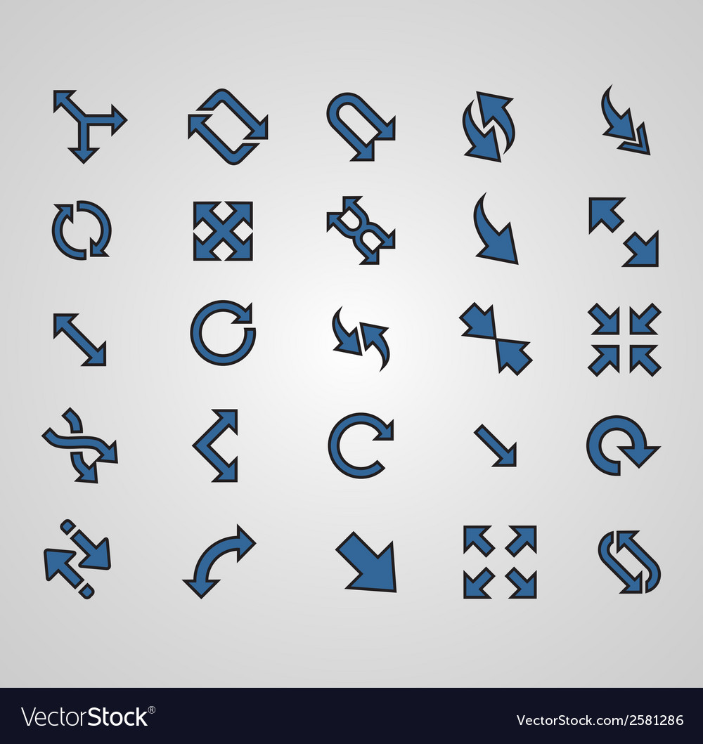 Arrows signs isolated on grey background vector | Price: 1 Credit (USD $1)