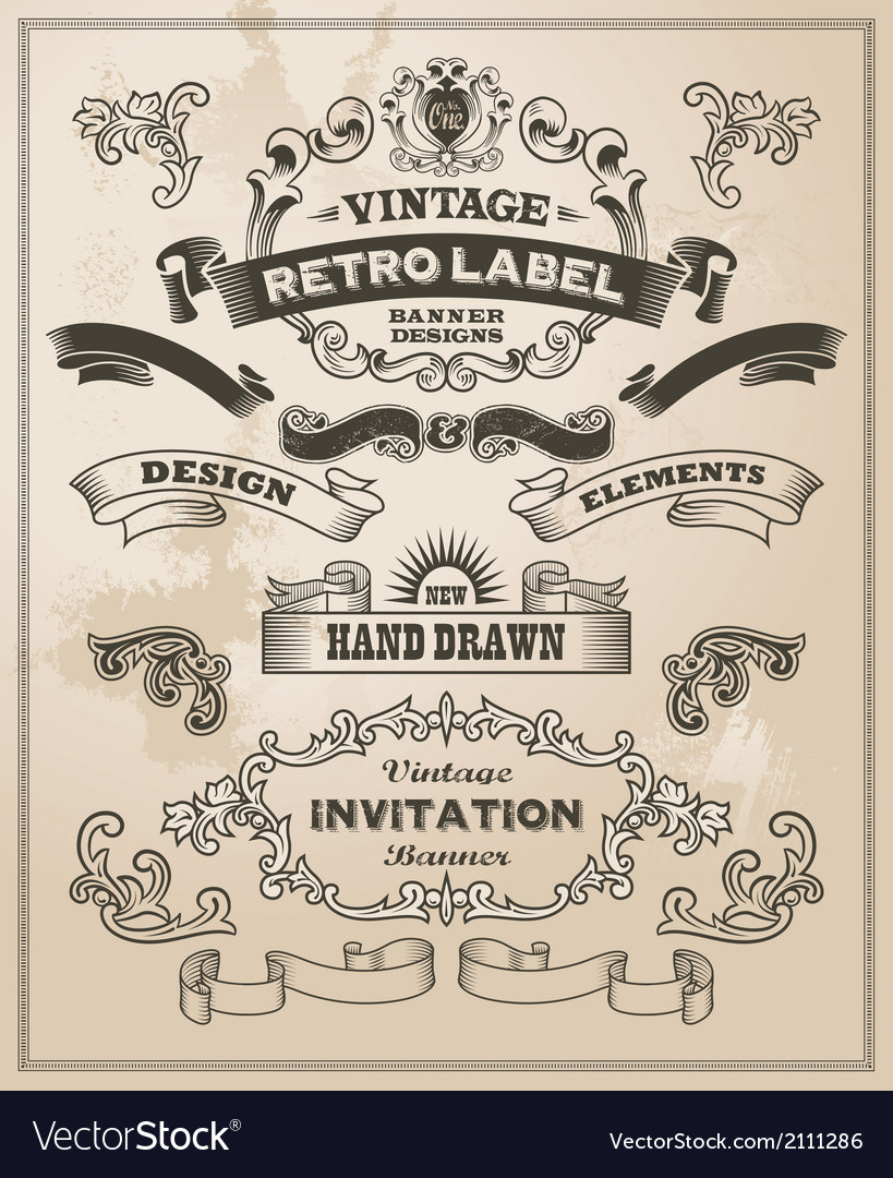 Calligraphic design elements - banners and scrolls vector | Price: 3 Credit (USD $3)