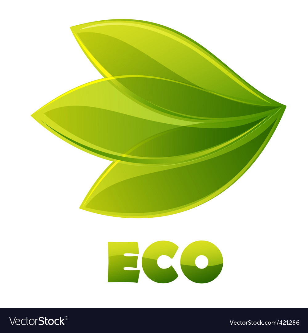 Eco logo green leaves vector | Price: 1 Credit (USD $1)