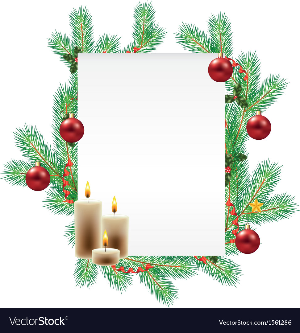 Empty list decorated with christmas branches vector | Price: 1 Credit (USD $1)