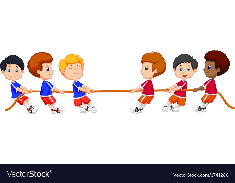 Group of children cartoon playing tug of war vector | Price: 1 Credit (USD $1)