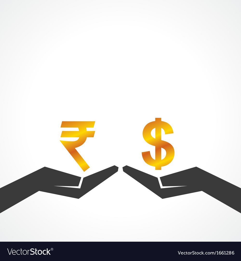 Hand hold dollar and rupee symbol to compare vector | Price: 1 Credit (USD $1)