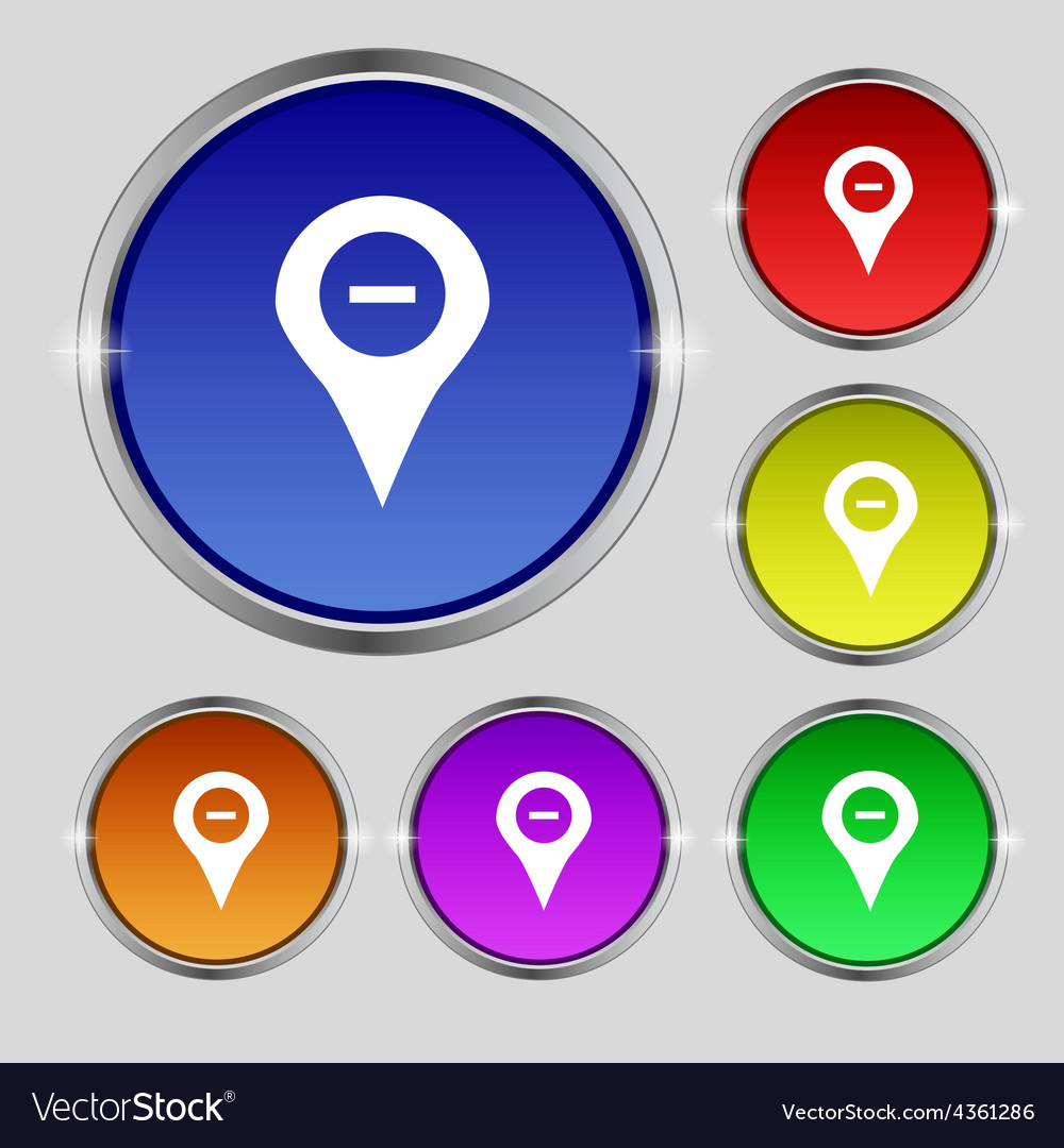 Minus map pointer gps location icon sign round vector | Price: 1 Credit (USD $1)