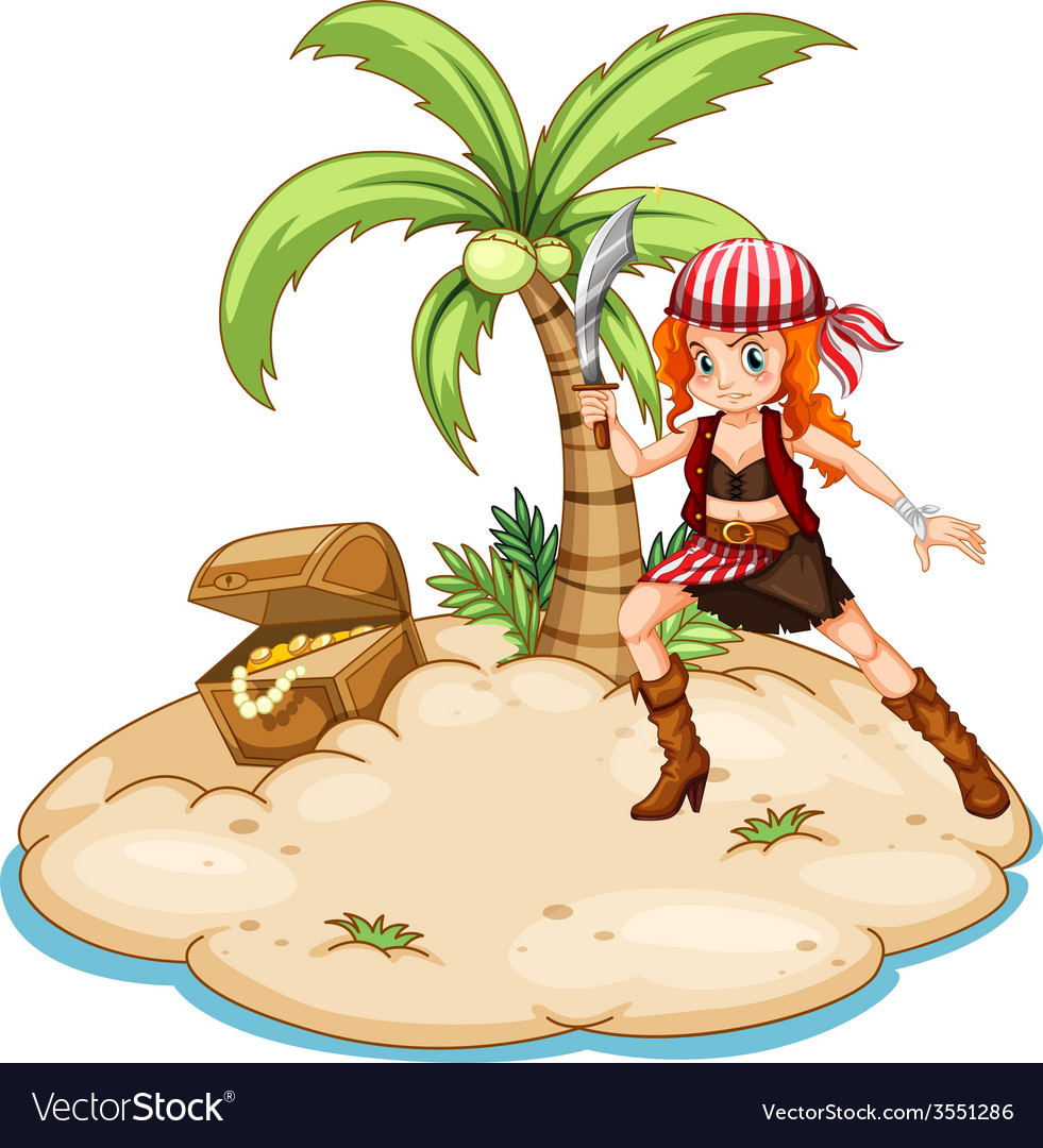Pirate and island vector | Price: 3 Credit (USD $3)
