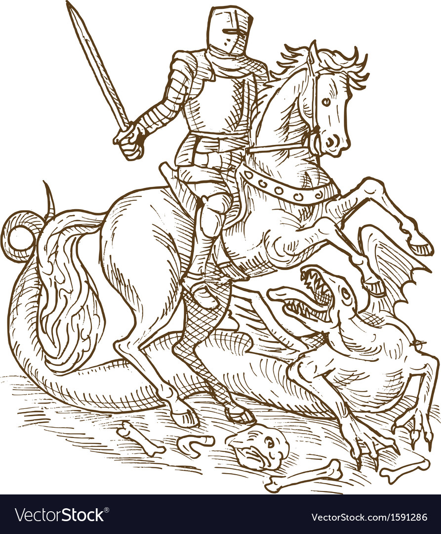 Saint george knight and the dragon vector | Price: 1 Credit (USD $1)