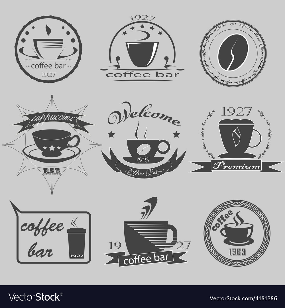 Set of vintage coffee themed monochrome labels vector | Price: 1 Credit (USD $1)