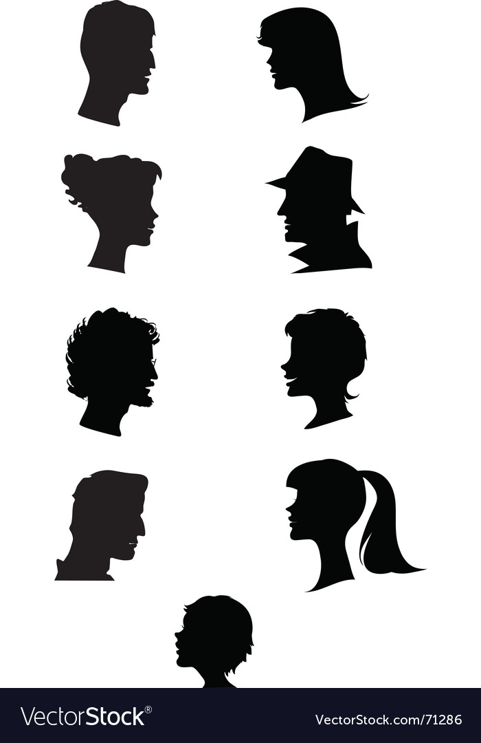 Silhouettes of profiles vector | Price: 1 Credit (USD $1)