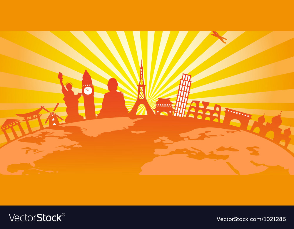 Travel around the world on golden sunburst vector | Price: 1 Credit (USD $1)
