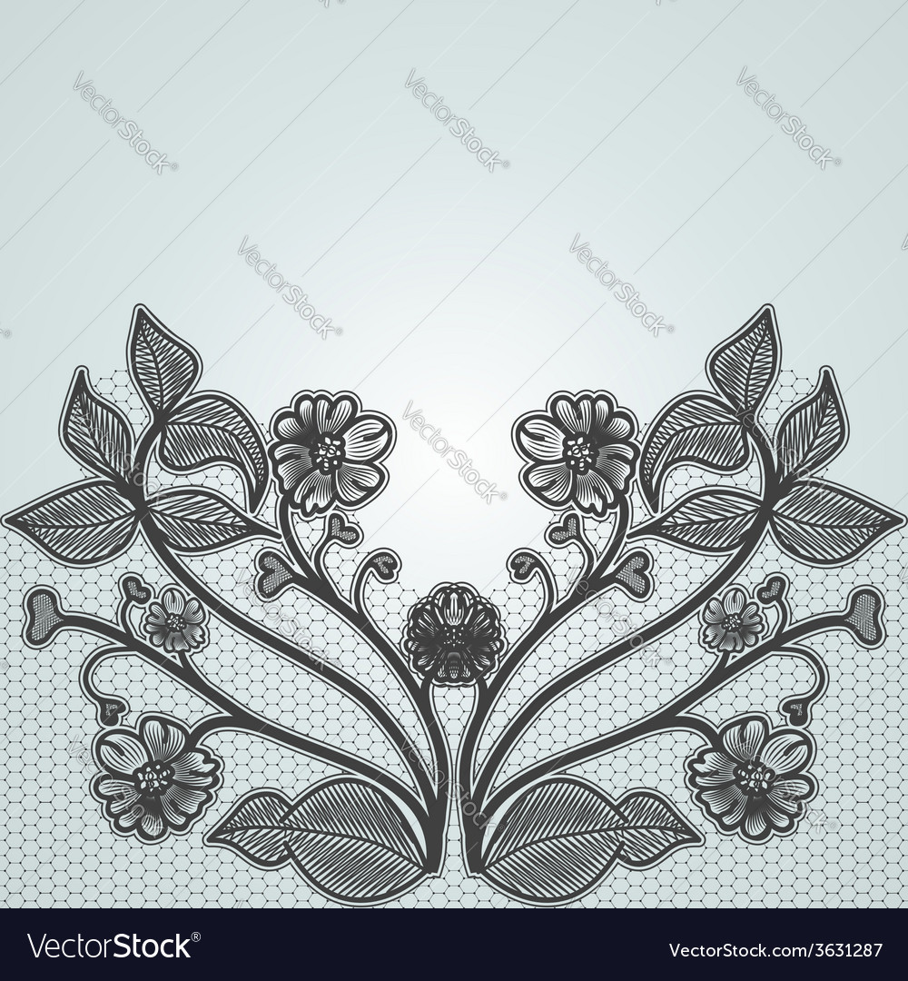Background with black lace flowers for design of vector | Price: 1 Credit (USD $1)