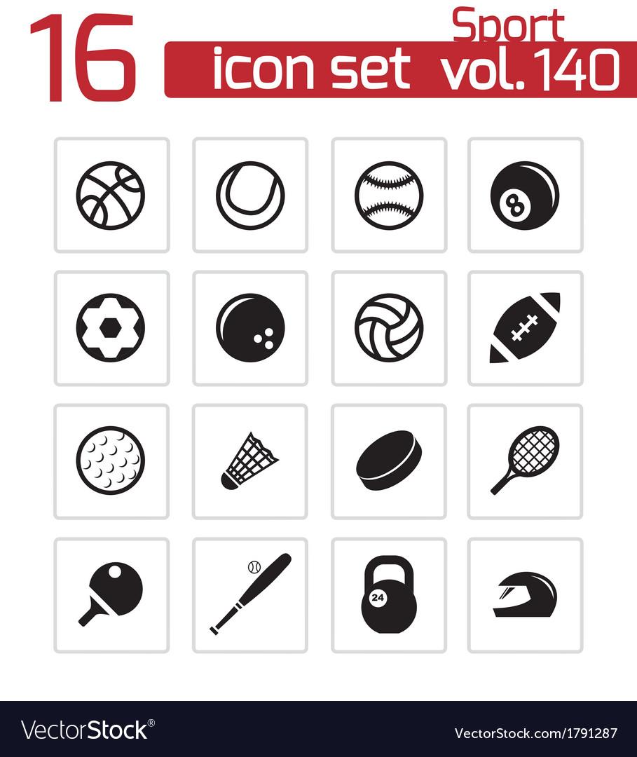 Black sport icons set vector | Price: 1 Credit (USD $1)