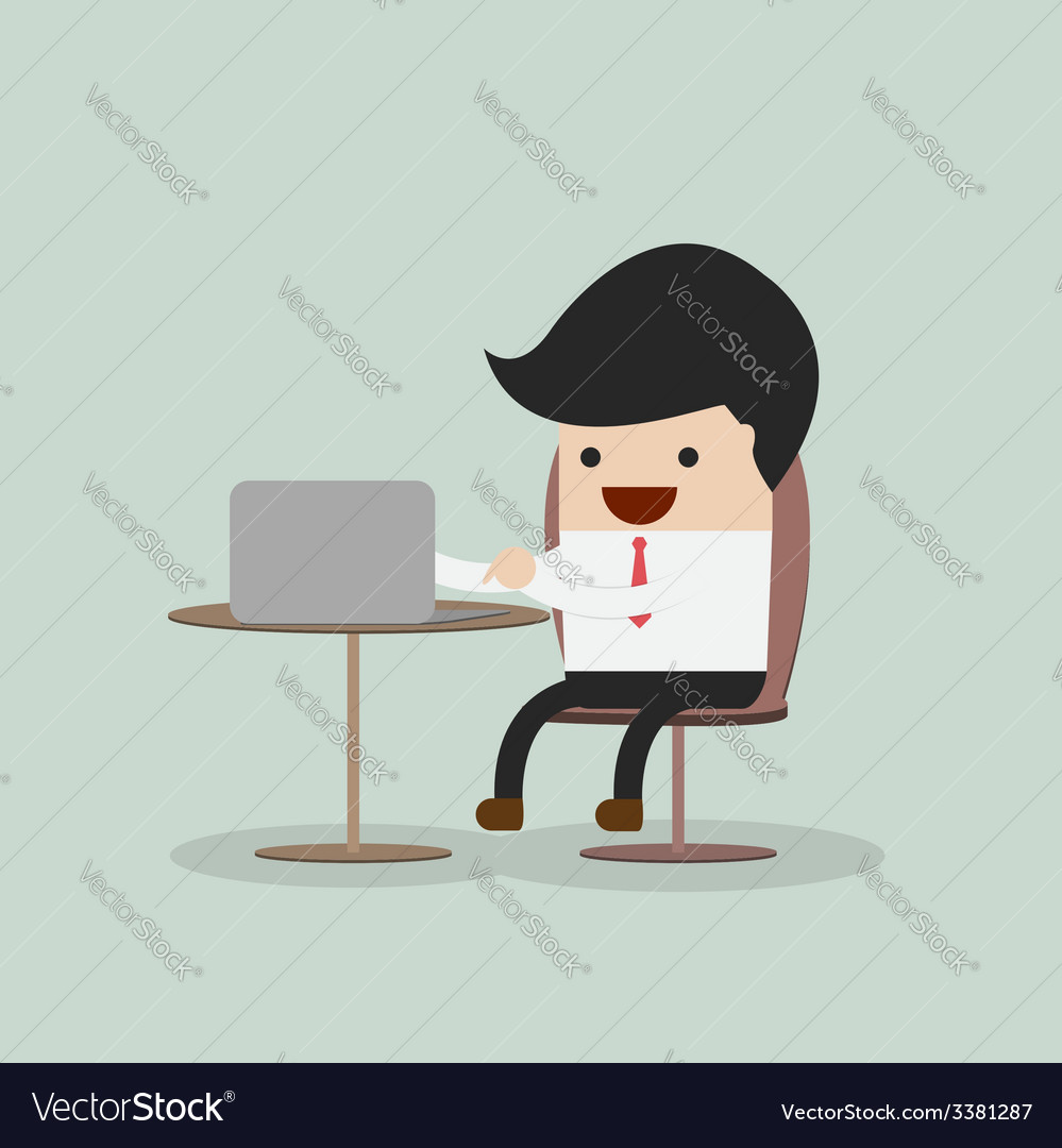 Businessman working on laptop vector | Price: 1 Credit (USD $1)