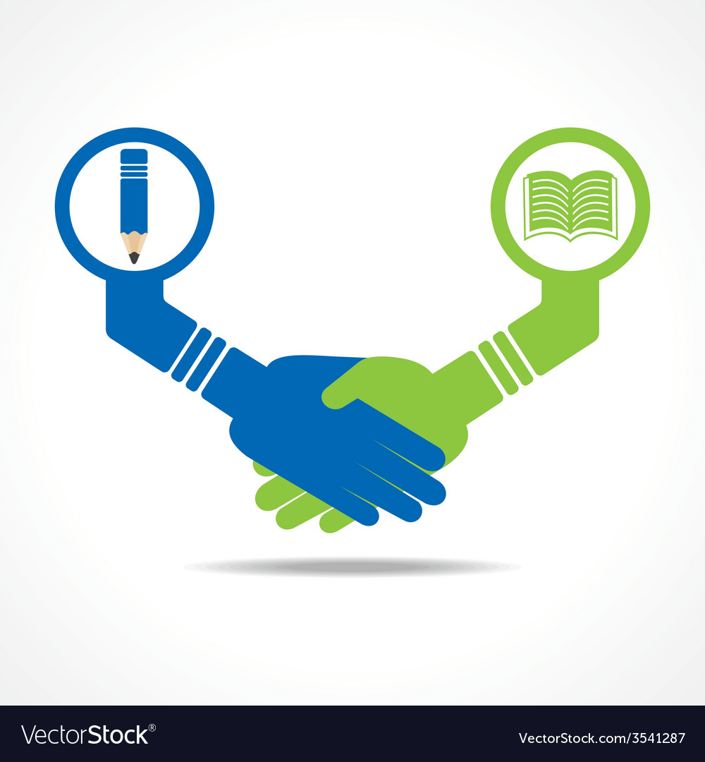Businessmen handshake between educated people stoc vector | Price: 1 Credit (USD $1)