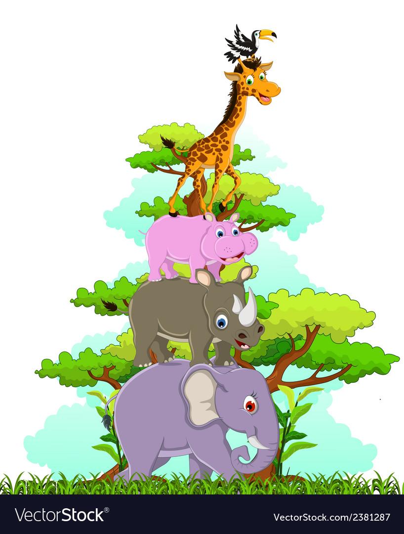 Funny animals cartoon posing vector | Price: 1 Credit (USD $1)
