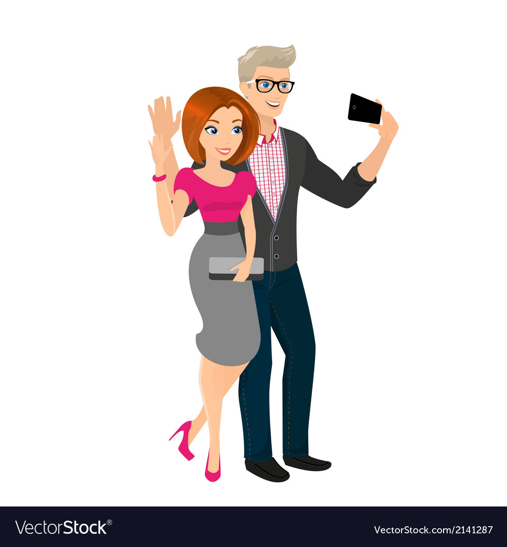 Happy couple is going out and taking a snapshot of vector