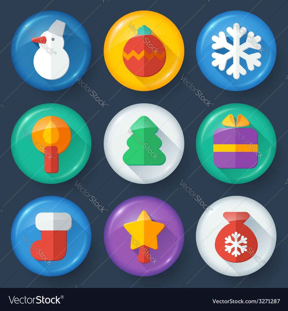 New year buttons in glossy flat style vector | Price: 1 Credit (USD $1)