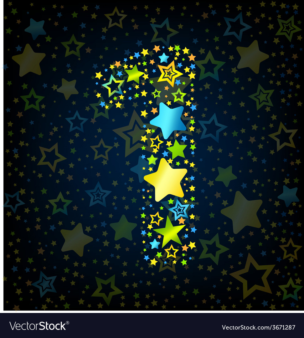 Number 1 cartoon star colored vector | Price: 1 Credit (USD $1)