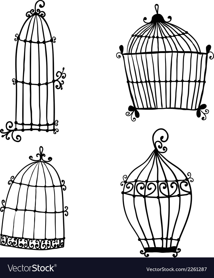 Set of doodle cages for birds vector | Price: 1 Credit (USD $1)