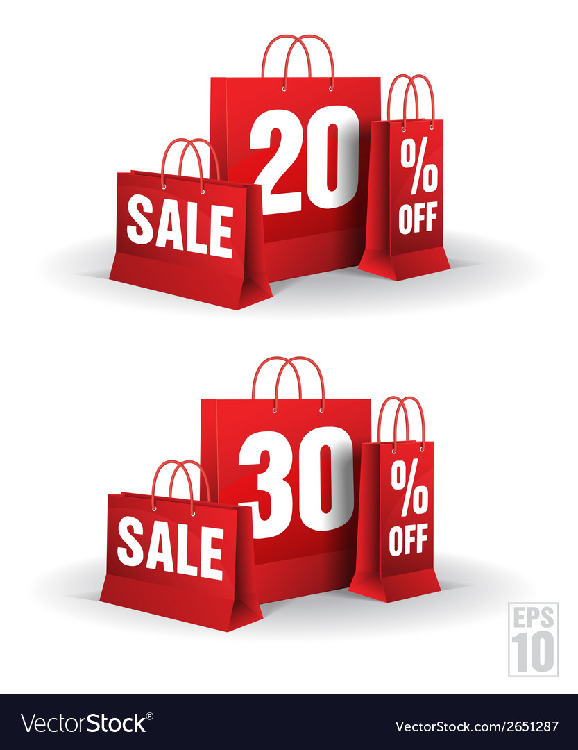 Shopping bag printed with a twenty and thirty vector | Price: 1 Credit (USD $1)