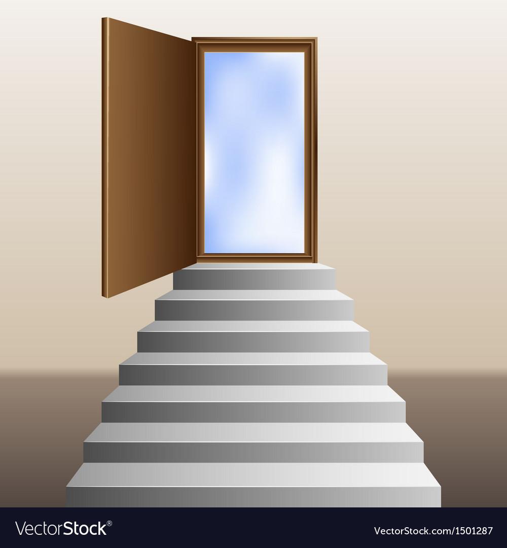 Stairs leading to an open door vector