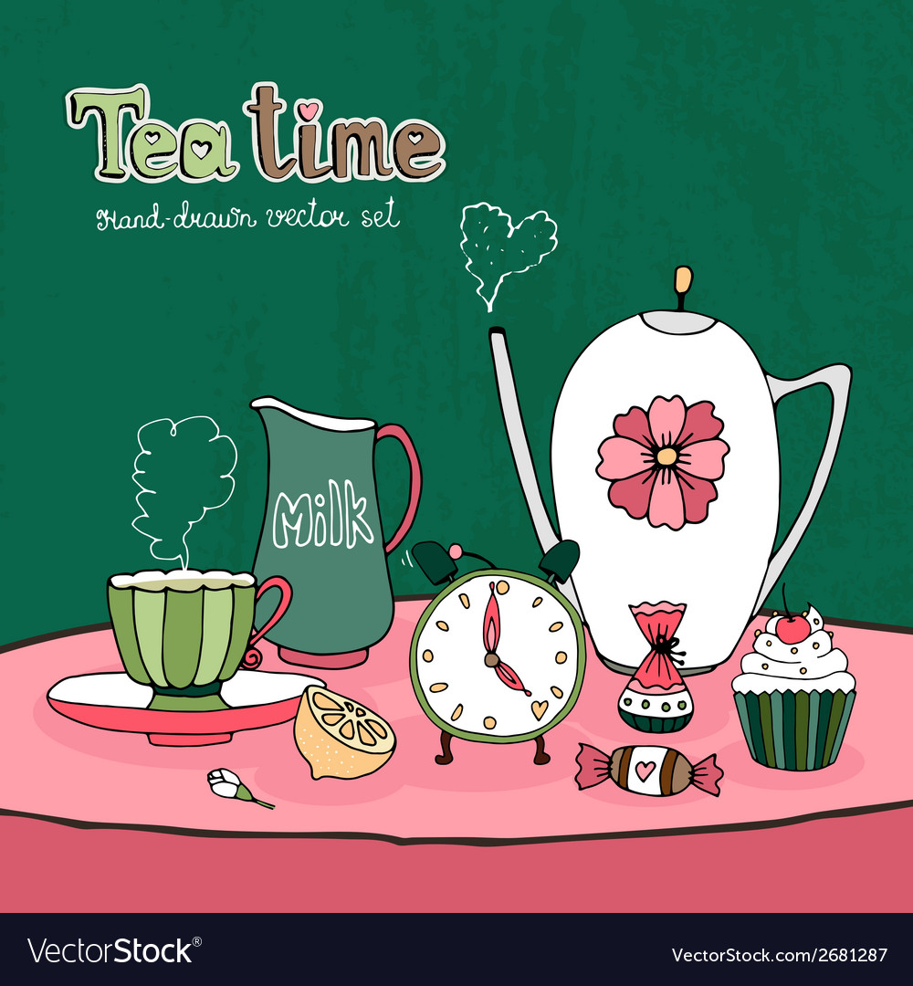 Teatime party card vector | Price: 1 Credit (USD $1)
