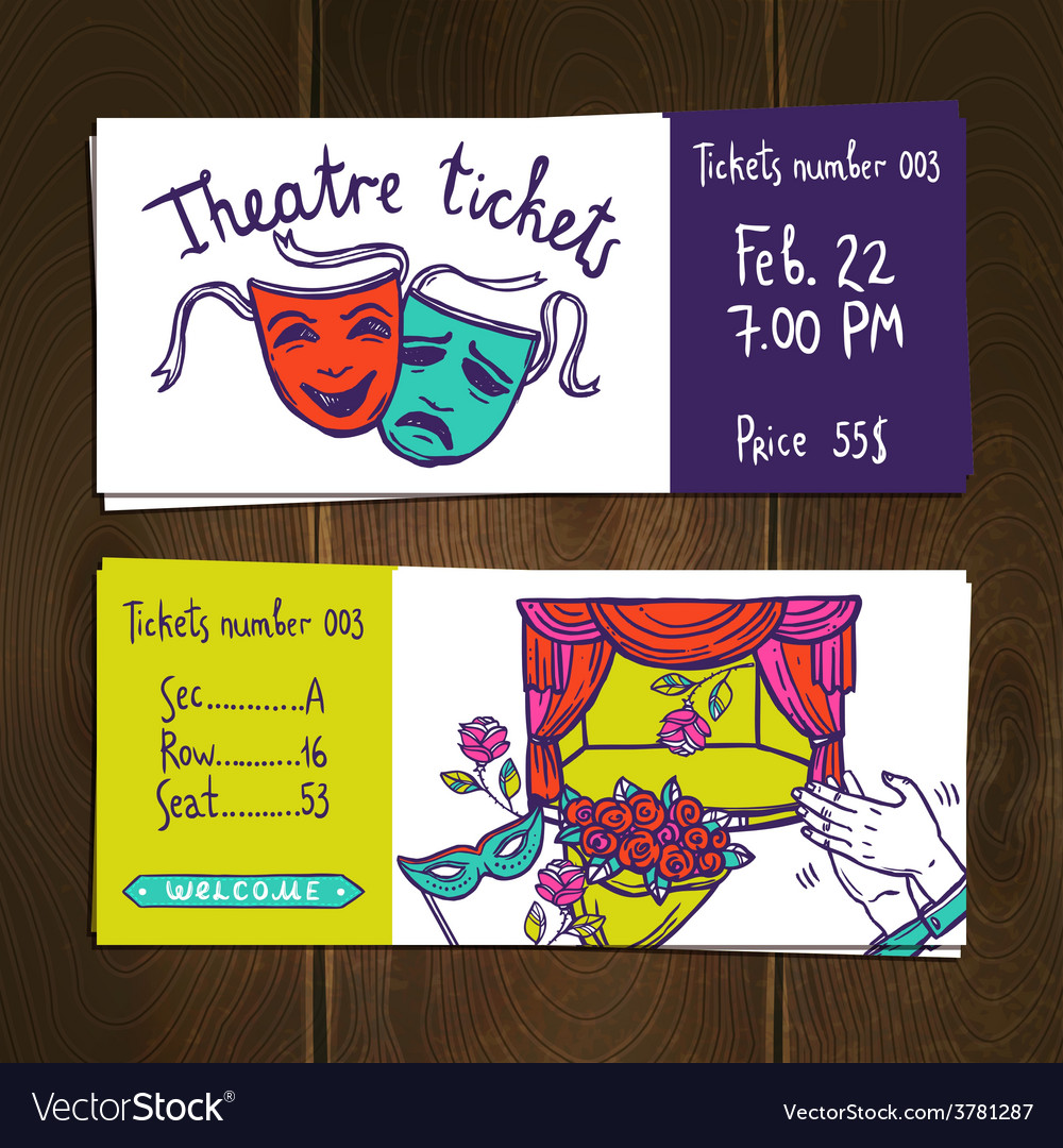 Theater ticket set vector | Price: 1 Credit (USD $1)