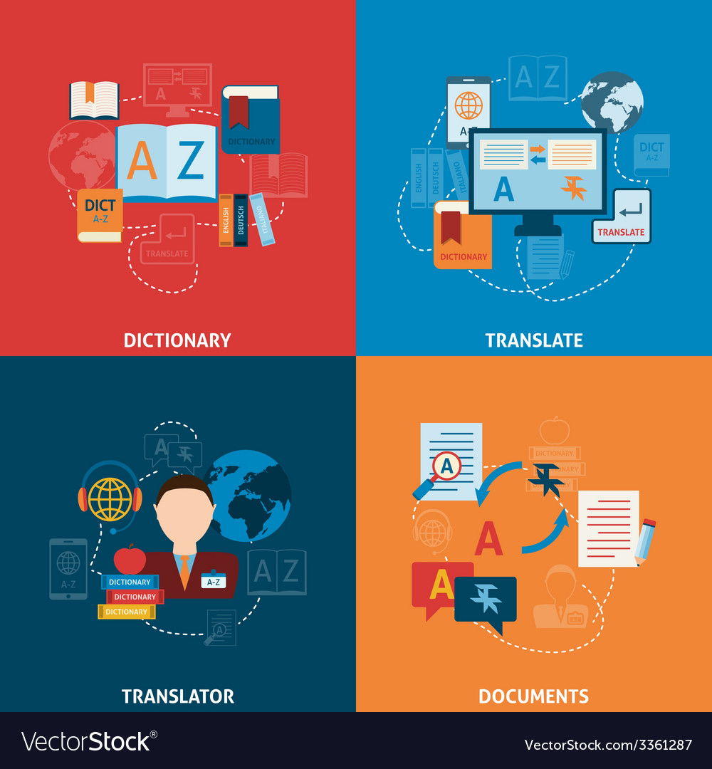 Translation and dictionary flat icons composition vector | Price: 1 Credit (USD $1)