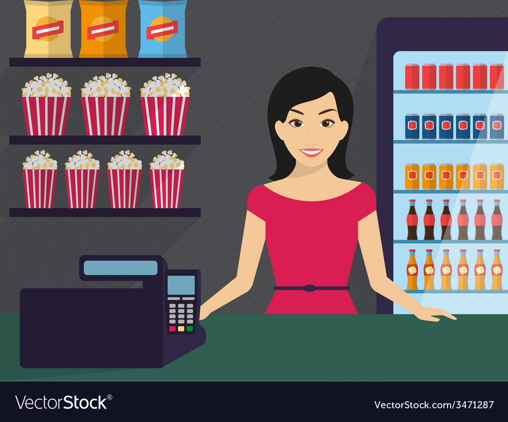 Woman in the shop vector | Price: 1 Credit (USD $1)