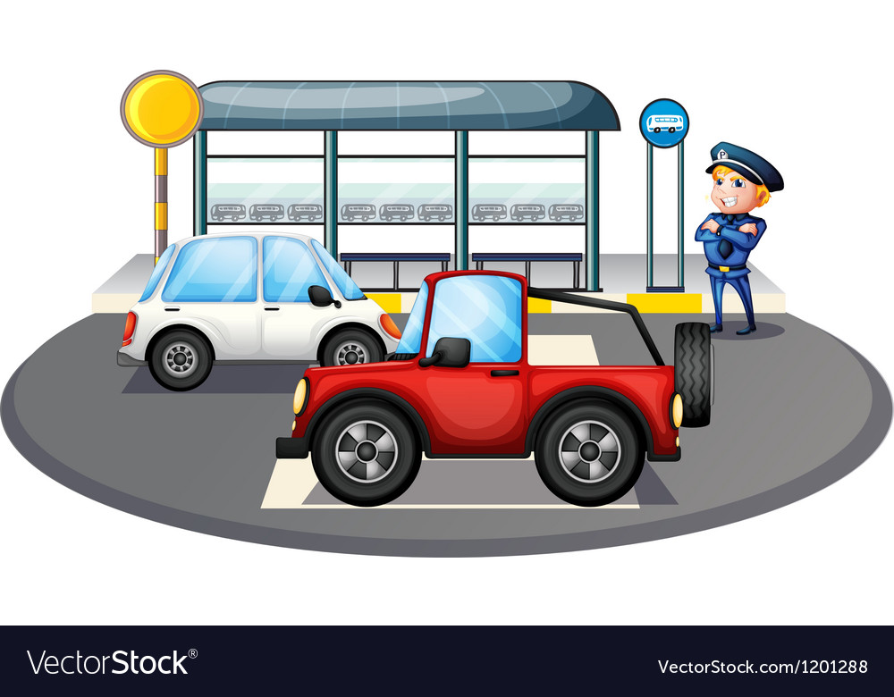 A cop standing at the waiting shed area vector | Price: 1 Credit (USD $1)
