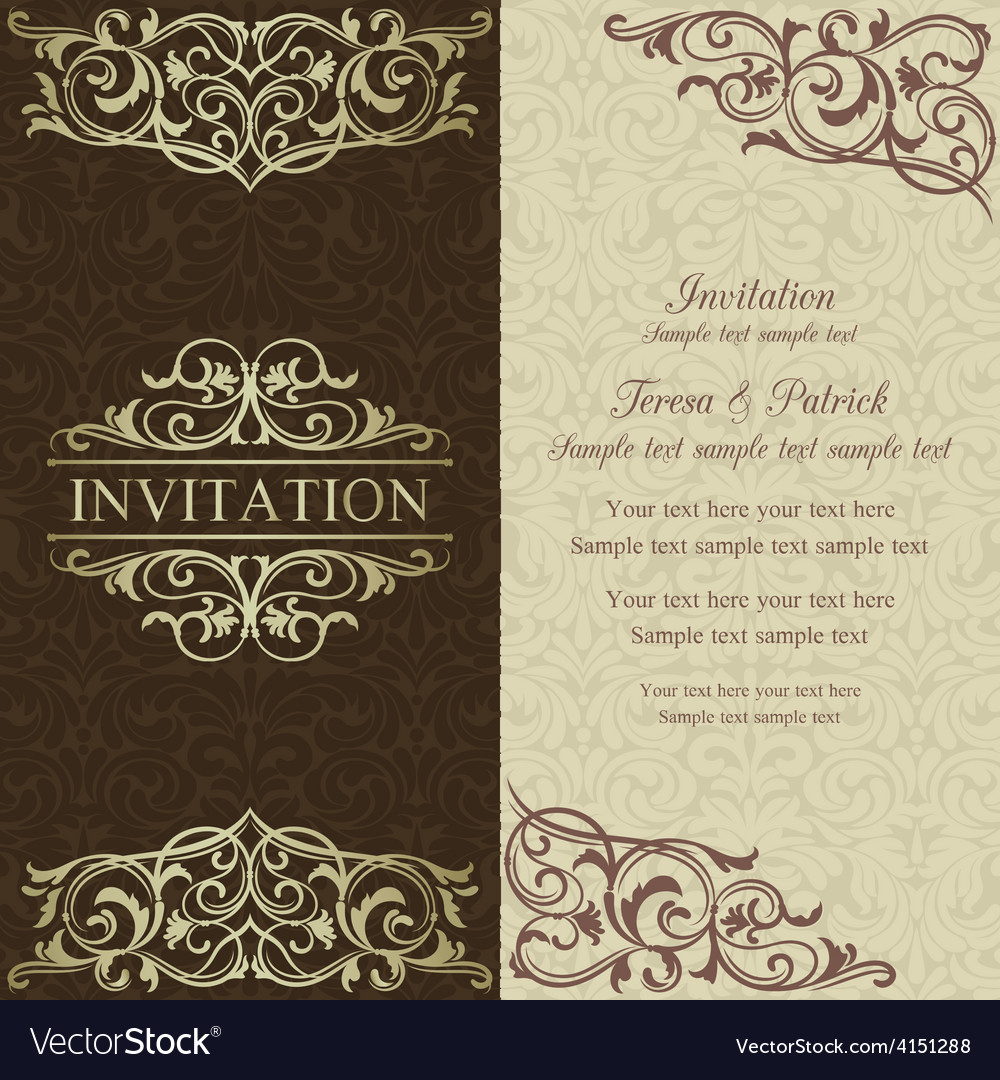 Baroque invitation brown and beige vector | Price: 1 Credit (USD $1)