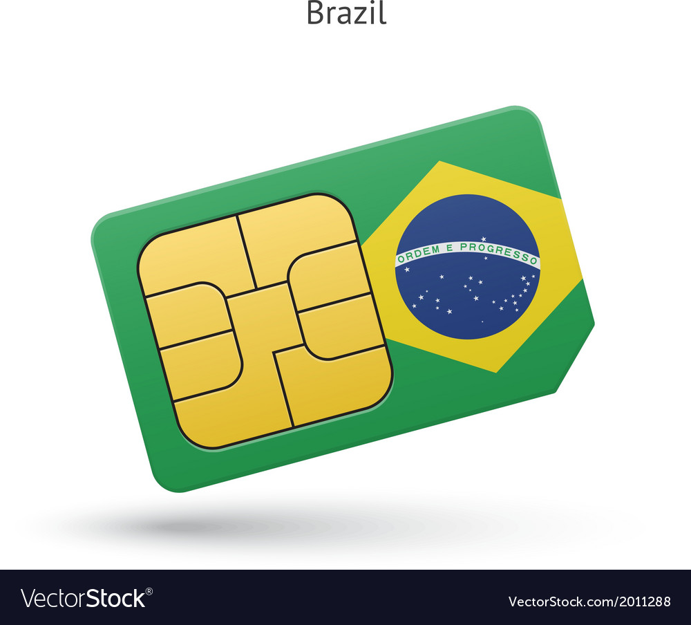 Brazil mobile phone sim card with flag vector | Price: 1 Credit (USD $1)
