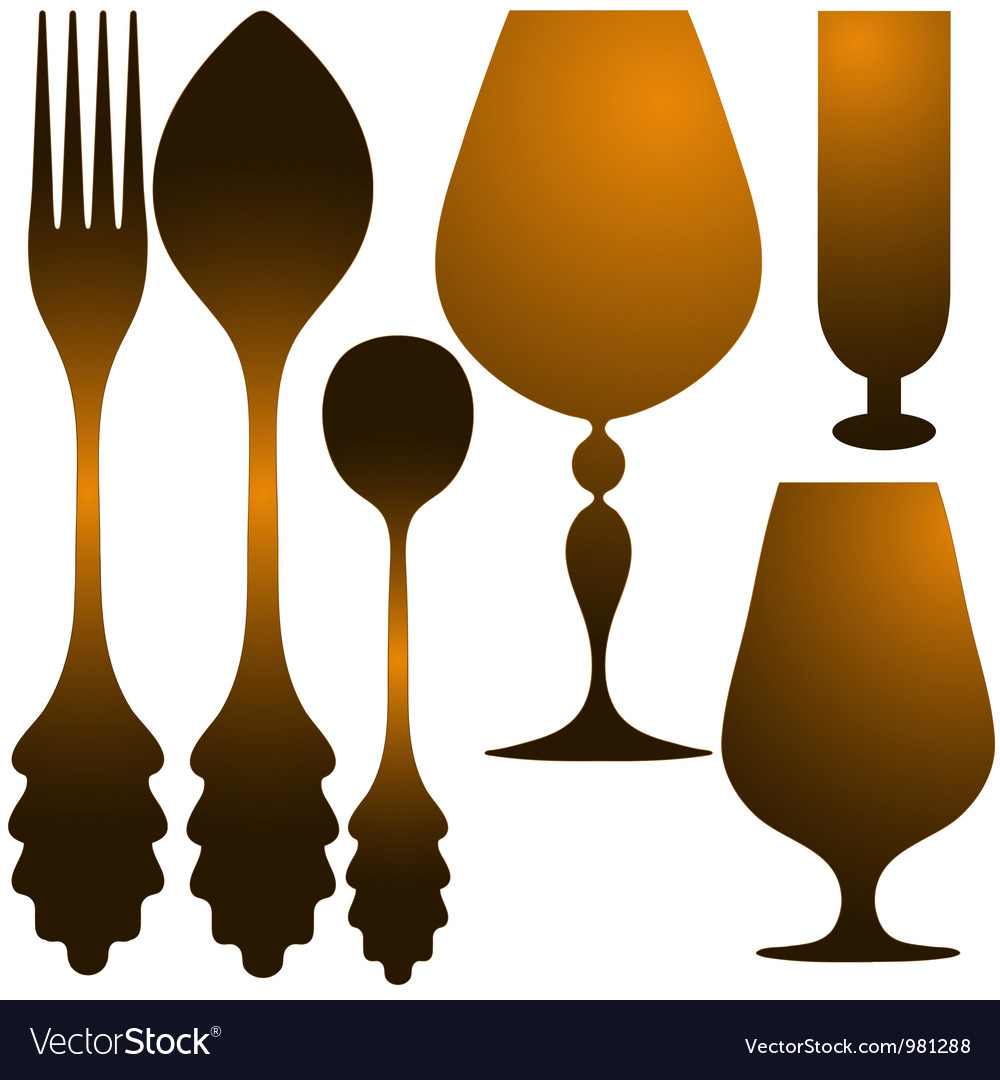 Cutlery golden set vector | Price: 1 Credit (USD $1)