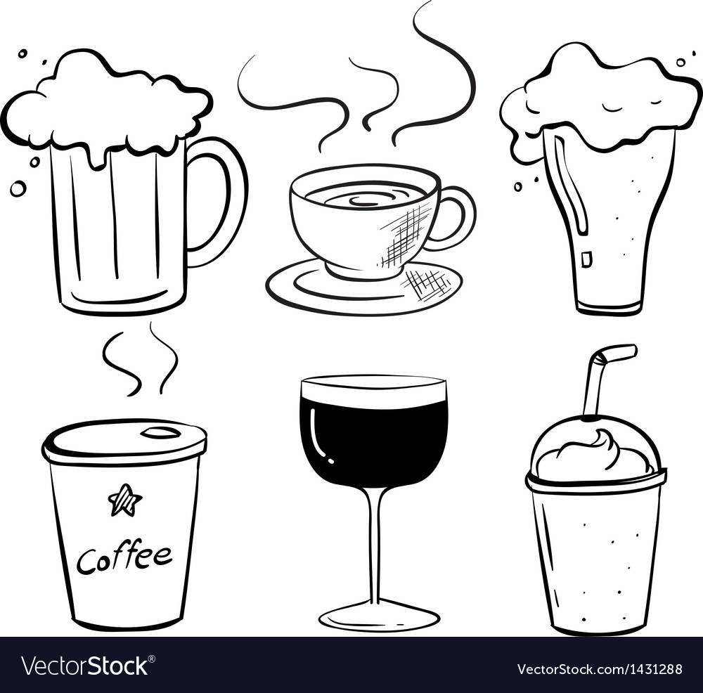 Doodle design of the different kinds of drinks vector | Price: 1 Credit (USD $1)