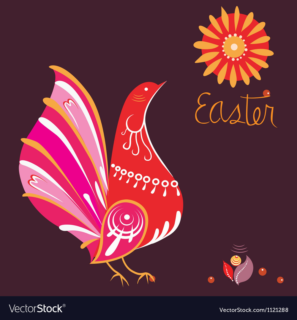 Easter poster with bird in national style vector | Price: 1 Credit (USD $1)