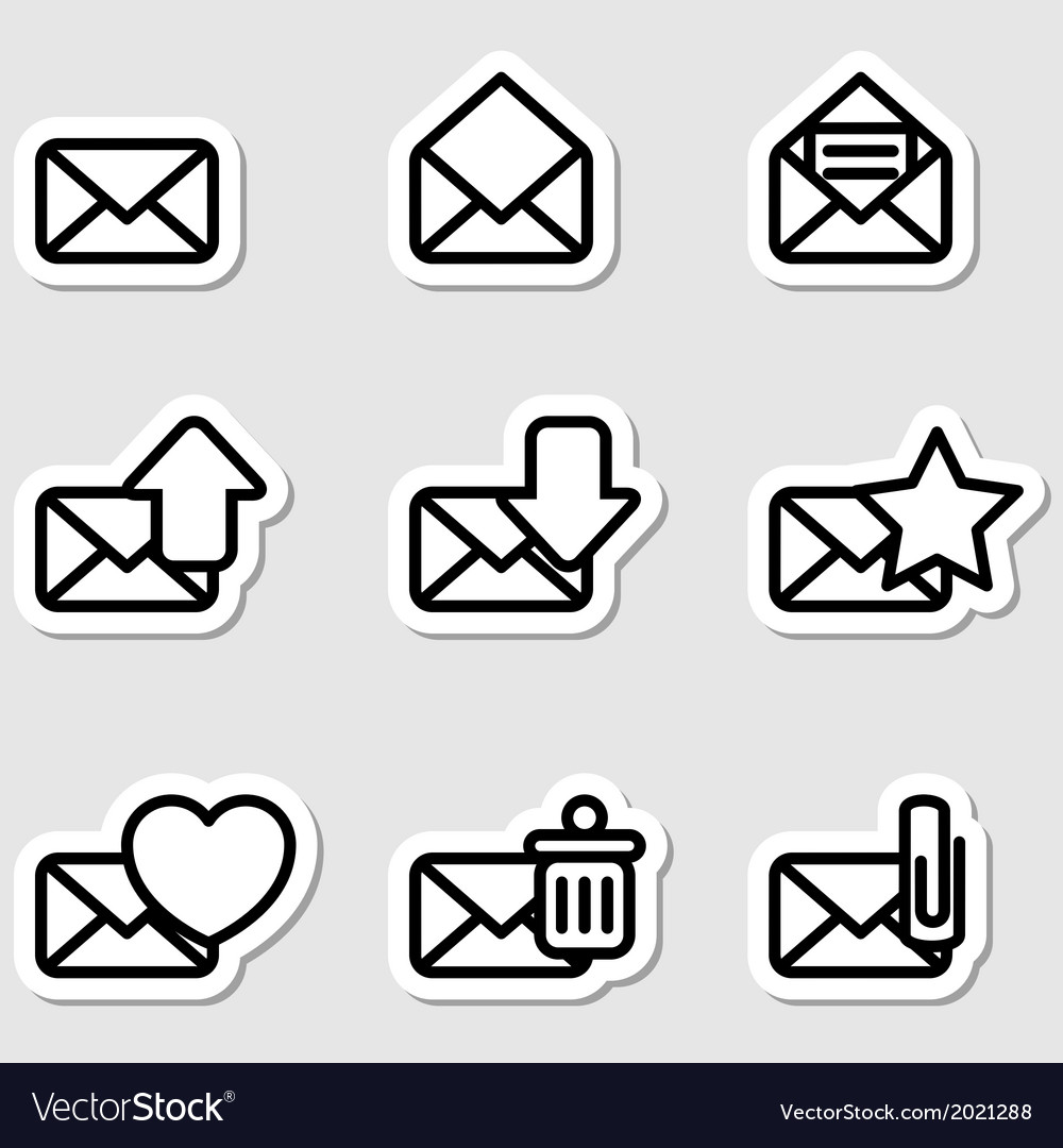 Envelopes icons as labels vector | Price: 1 Credit (USD $1)