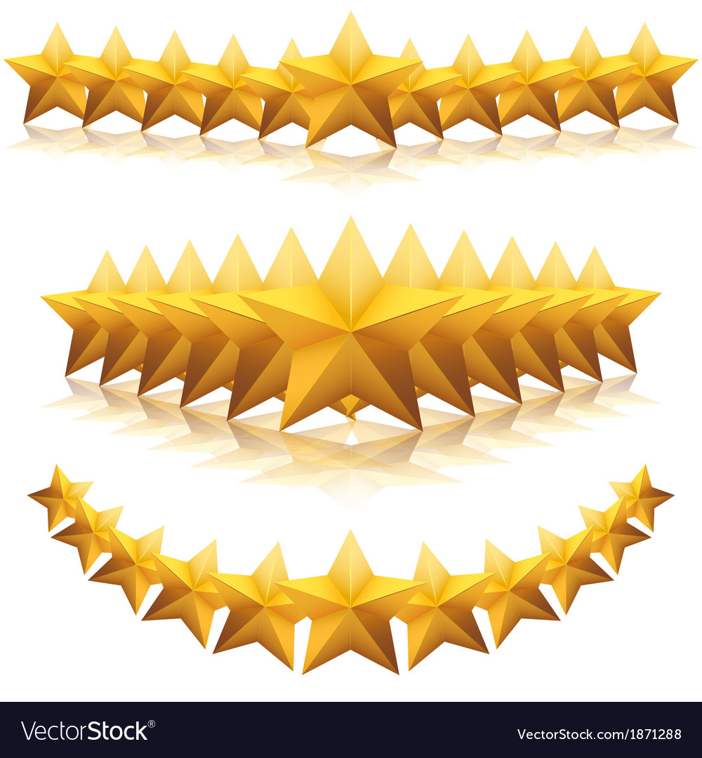 Gold five-pointed premium stars vector | Price: 1 Credit (USD $1)