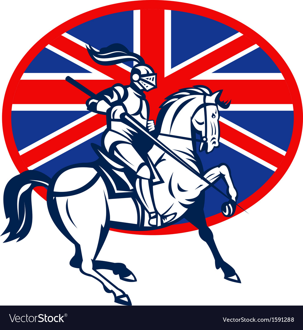 Knight on horse with lance and british flag vector | Price: 1 Credit (USD $1)