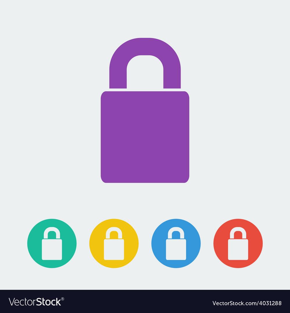 Lock flat circle icon vector | Price: 1 Credit (USD $1)