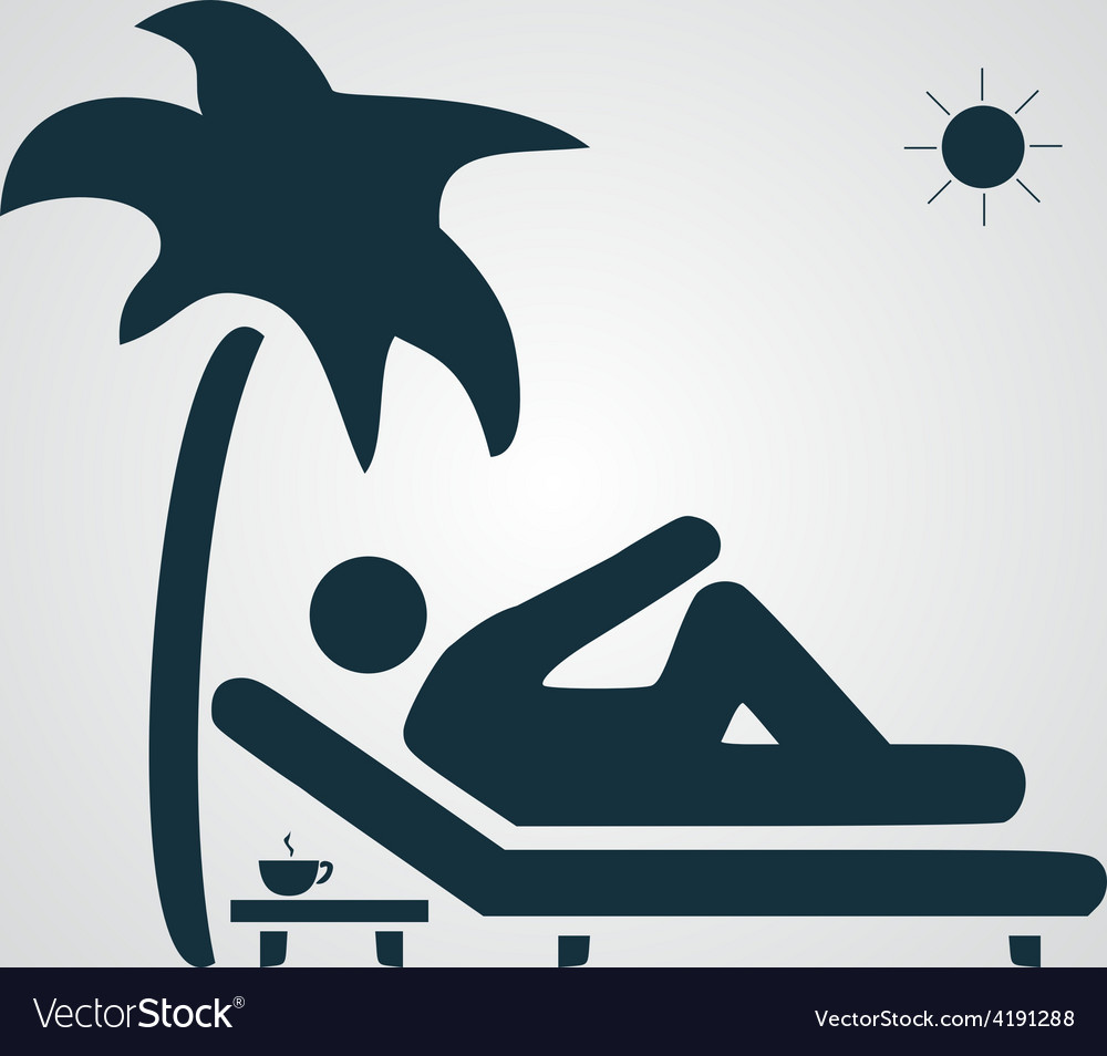 Man relaxing on a deck chair under palm tree vector | Price: 1 Credit (USD $1)