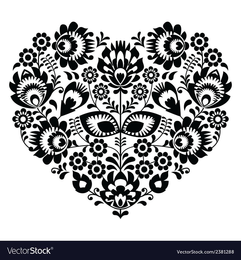 Polish folk art heart pattern in black - wycinanka vector | Price: 1 Credit (USD $1)
