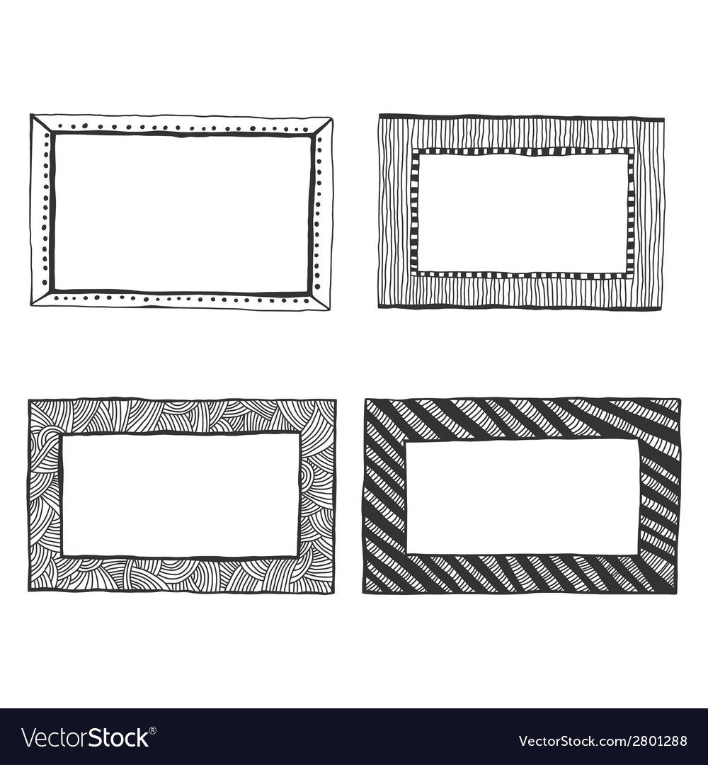 Set of hand drawn doodle frames vector | Price: 1 Credit (USD $1)