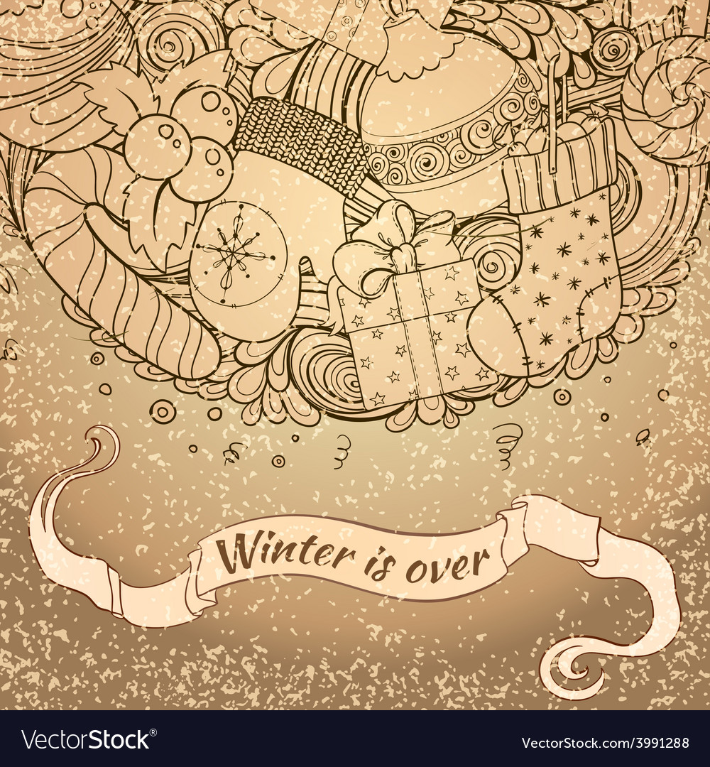 Winter icons vintage circle composition vector   Price: 1 Credit (USD $1)