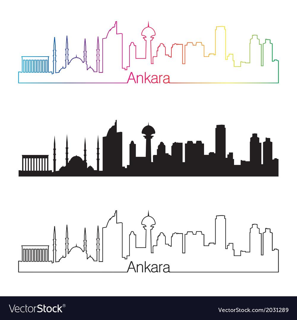 Ankara skyline linear style with rainbow vector   Price: 1 Credit (USD $1)