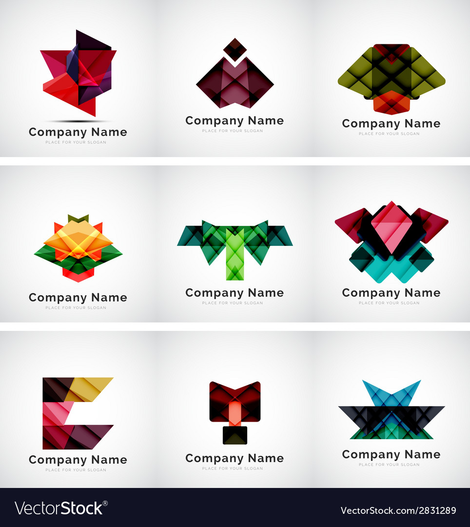 Company logos paper geometric icon set vector | Price: 1 Credit (USD $1)
