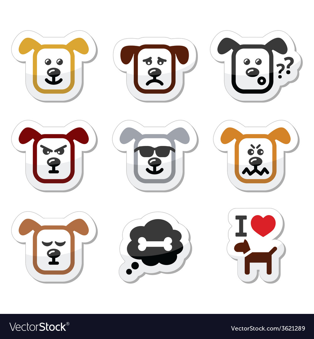 Dog icons set - happy sad angry isolated on whit vector | Price: 1 Credit (USD $1)