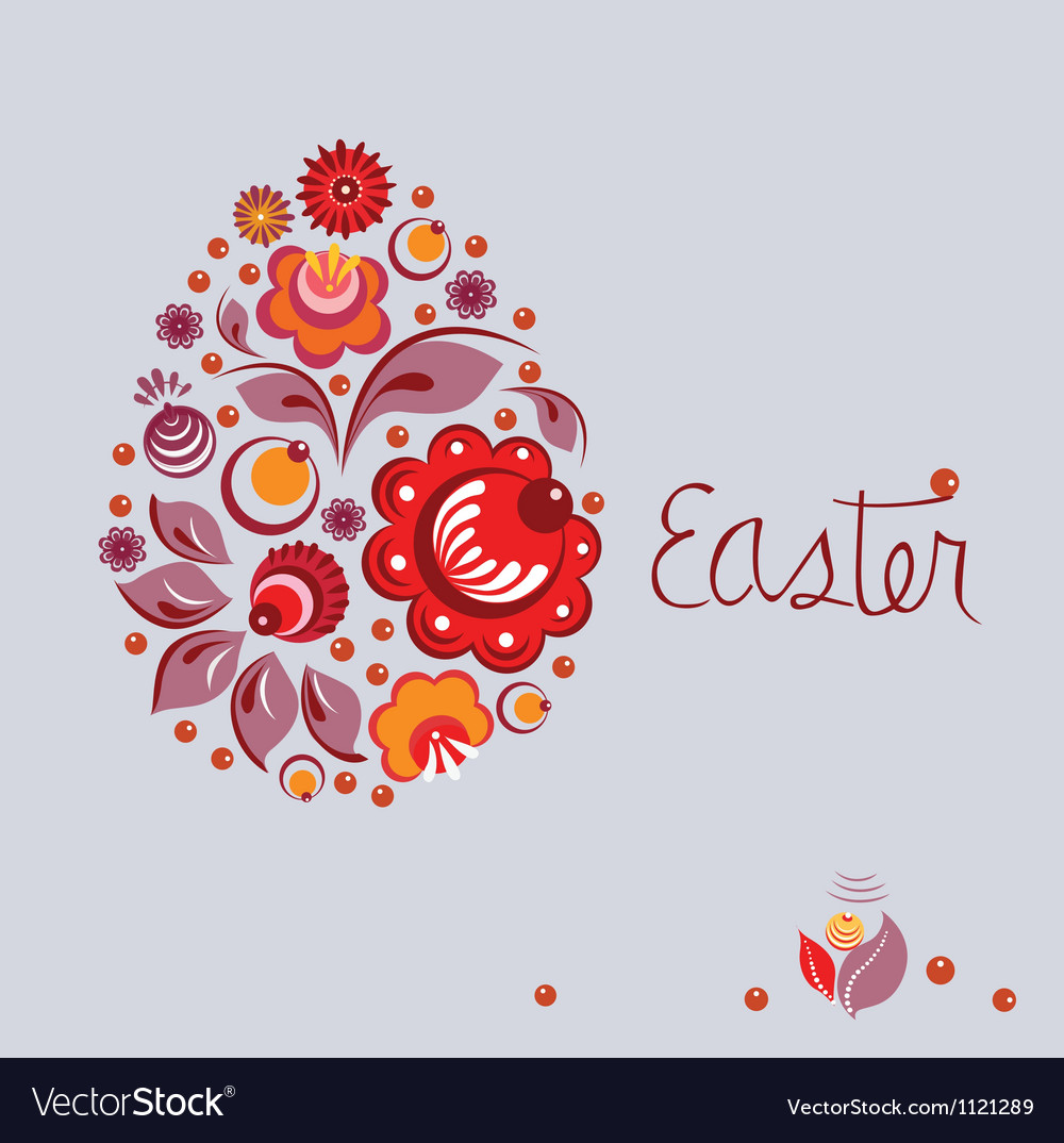 Easter floral poster in russian national style vector | Price: 1 Credit (USD $1)