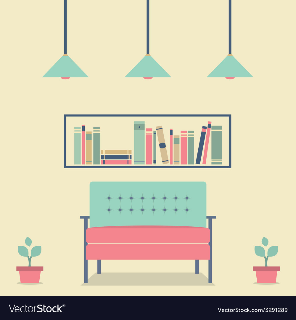 Flat design interior vintage sofa and bookshelf vector | Price: 1 Credit (USD $1)